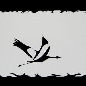 Nouveau départ, Grues cendrées (pochoir 20 x 50 cm)