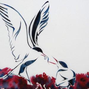 Payer le prix : sternes, cadeau nuptial (aquarelle+pochoir, 23x31 cm)
