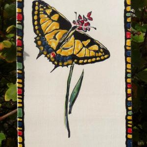 Papillon Machaon (tableau céramique, 14x38 cm, 120€)