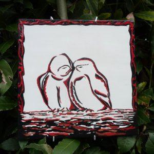 Chouettes chevêche (tableau céramique 21x21cm)