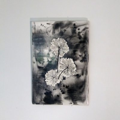 Géraniums (tableau céramique, 80€)
